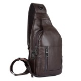 Men Genuine Leather Minimalist Vintage Crossbody Bag Leisure Business Chest Bag Weekend Bag