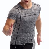 Men Bodybuilding Sexy Tops Elastic Training Quick Drying Sport Sweat T-Shirt Fitness Comfortable Tees