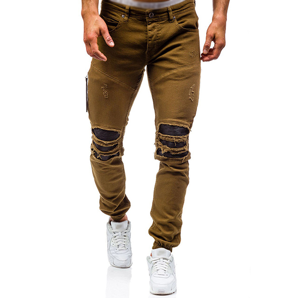Stylish Biker Cotton Washed Ripped Holes Frayed Jeans for Men