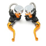 Pair 7/8inch 22mm CNC Motorcycle Brake Levers Master Cylinder Reservoir Universal
