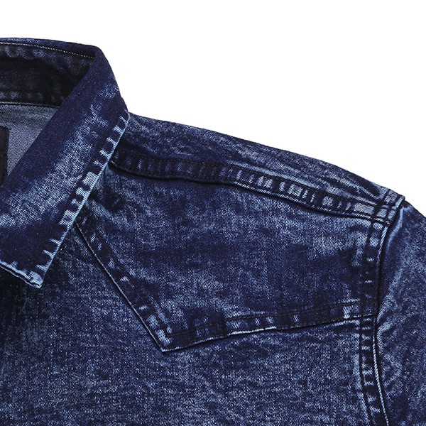 Mens Fashion Casual Double Pockets Cotton Washed Denim Slim Fit Short Sleeve Shirts