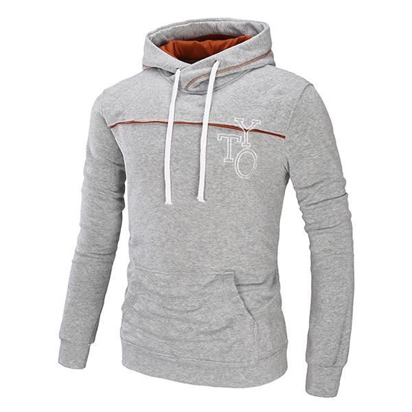 e87b8b41e215 Men s Casual Letter Printed Hoodies Fashion Big Front Pocket Thick Sport  Hooded Sweatshirt