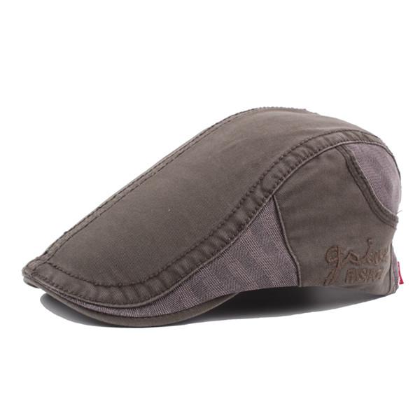 e388df3dfd3 Men Vintage Cotton Beret Cap Casual Outdoor Buckle Adjustable Sun Forward  Hats