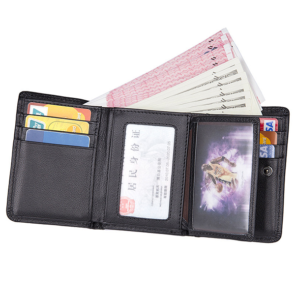 9bcc044a79f1 9 Card Slots Men Genuine Leather RFID Blocking Secure Wallet Minimalist  Classic Card Holder