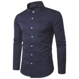 Mens Fashion Stitching Solid Color Turn Down Collar White Casual Fit Shirt