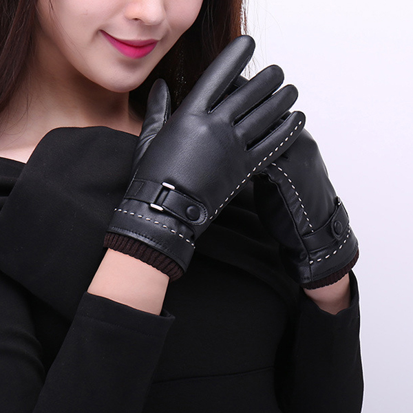 Men Women Full-Finger PU Leather Gloves Thick Winter Warm Cycling Driving Windproof Mittens