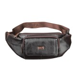 Men Leisure Waist Bag Waterproof Genuine Leather Chest Bag Outdoor Crossbody Bag