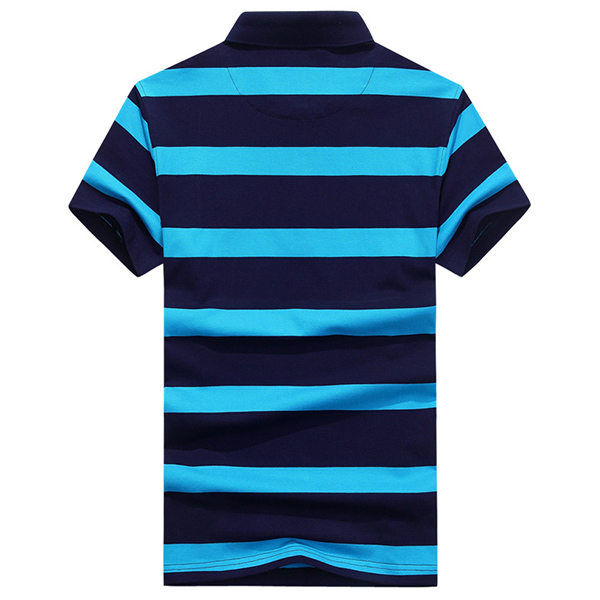 Summer Fashion Lapel Striped Printed T-shirt Men's Casual Cotton Short sleeve Tops Tees