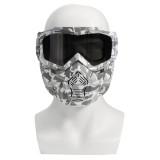 Motorcycle Helmet-in Goggles Clear Dark Grey Lens Detachable Modular Mask