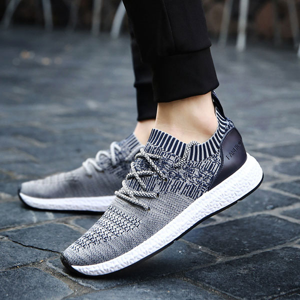 Men Casual Soft Sole Lace Up Sport Knitted Athletic Shoes