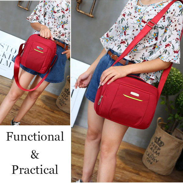 Women Men Nylon Multi Function Sport Daily Casual Handbag Shoulder Bag  Crossbody Bag
