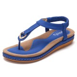 SOCOFY US Size 5-13 Comfortable Elastic Clip Toe Flat Beach Sandals
