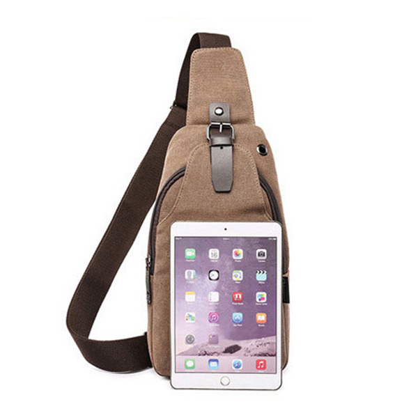 Men Canvas Sling Bag Outdoor Sport Casual Chest Pack Crossbody Swagger Bag