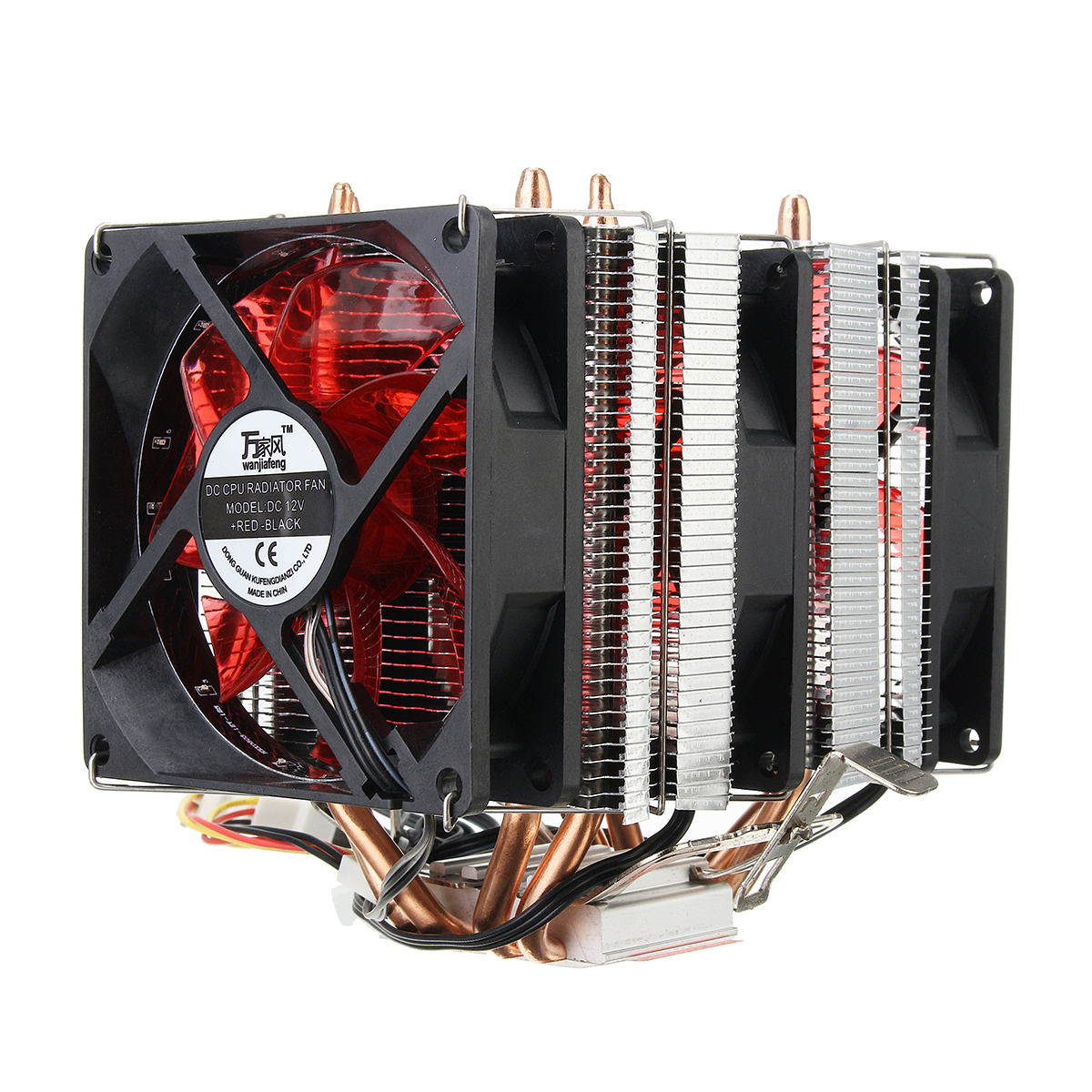 4 Heat Pipes Red Led 3 Cpu Cooling Cooler Fan Heatsink For