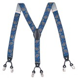 125CM Men's Suspenders Braces High Elastic Leather Suspenders Adjustable 6 Clip Belt Strap