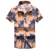 Mens Hawaiian Style 3D Coconut Printing Summer Turn Down Collar Beach Casual Shirt