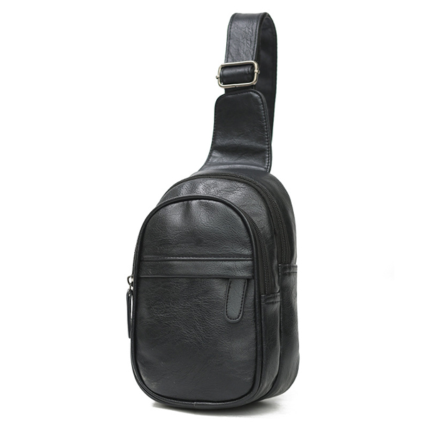 Men PU Leather Waterproof Casual Crossbody Bag Chest Bag Cycling Outdoor Sports Shoulder Bag