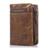 Bullcaptain® Bifold Men's Leather Wallet Coin Holder Wallet Credit Card Holder