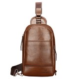 Men PU Leather Minimalist Crossbody Bag Chest Bag Leisure Shoulder Bag with Earphone Hole