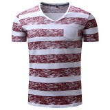 Summer Men's Fashion Stripe Printing V-neck T-shirt Leisure Cotton Shorts Sleeve Tees