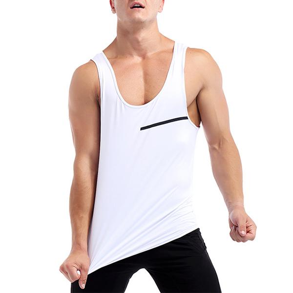 White Quick Drying Line Printed Tight Fitness Sleeveless T-shirt Men's Running Training Sport Vest