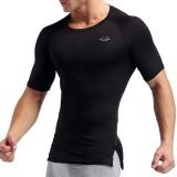 Elastic Quick Drying Compression Fitness Tops Men's Split Hem Breathable Slim Fit Sport T-shirt