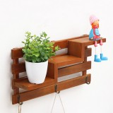 Wooden Wall Mounted 3 Hanger Hooks Floating Shelf Vintage Shabby Rack