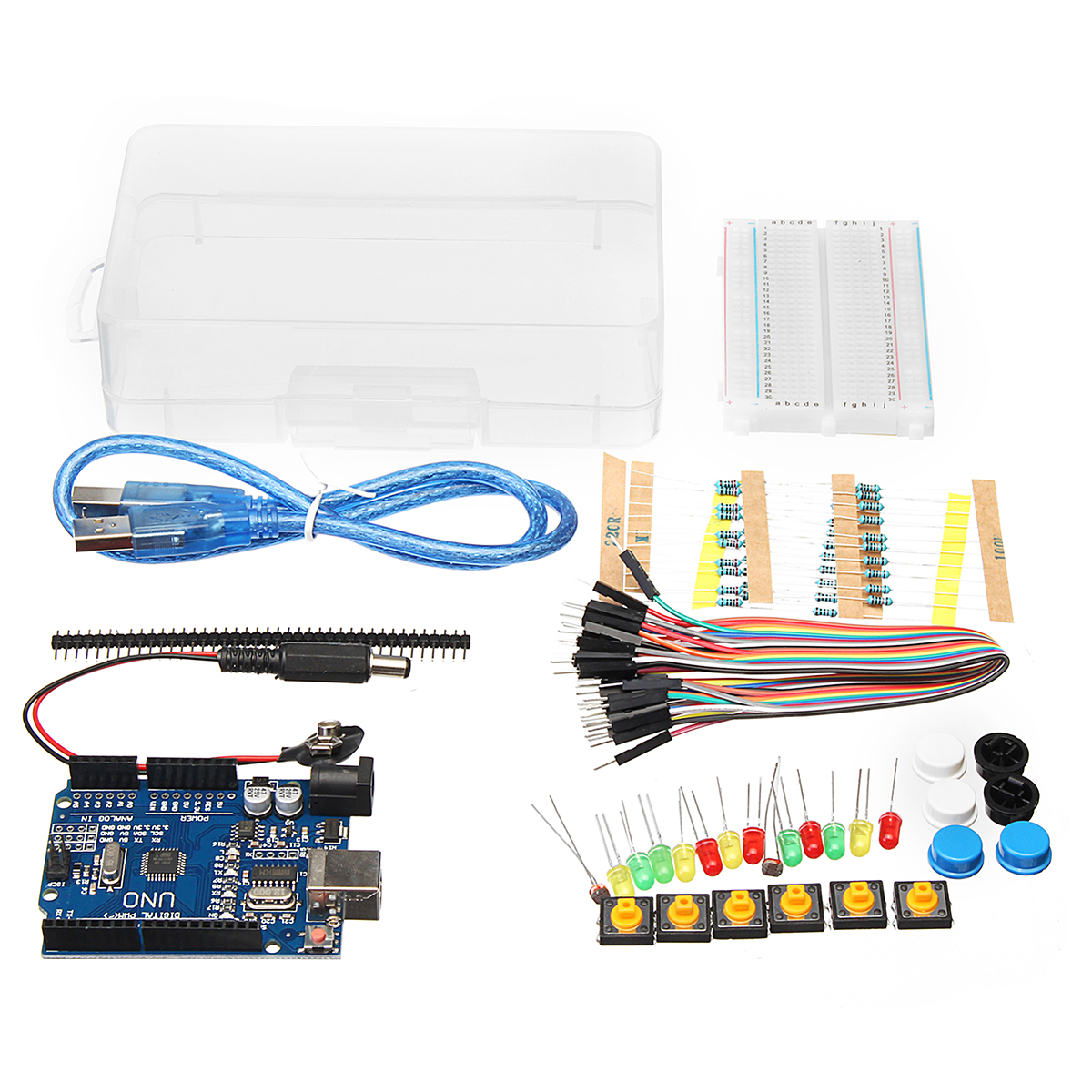 basic starter kit uno r3 mini breadboard led jumper wire button for arduino with box. Black Bedroom Furniture Sets. Home Design Ideas