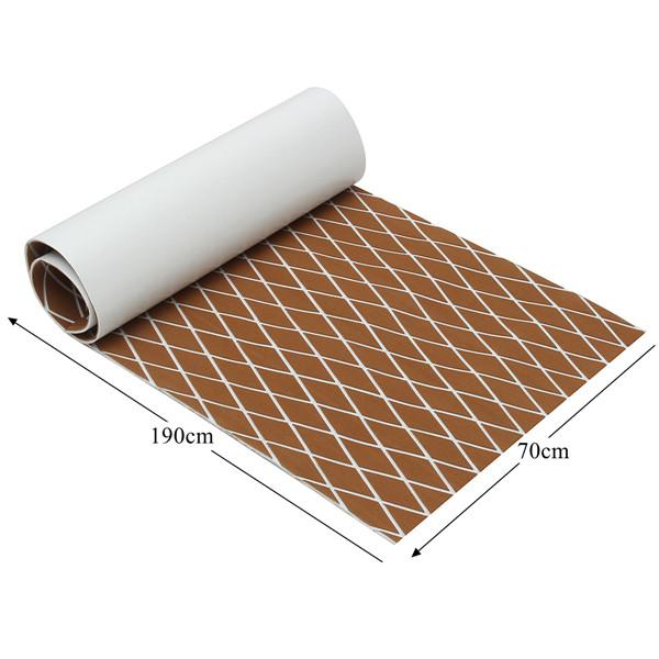 190x70cm Brown and White EVA Foam Teak Boat Sheet Floor Marine Decking Teak  Sheet Self Adhesive