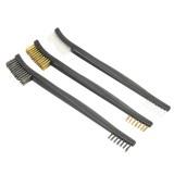 3Pcs Double End Cleaning Brush Set Brass Steel Nylon Wire Brush Kit