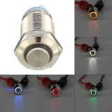 Silver 12mm LED Metal Push Button Latching Switch 4Pin Waterproof Push Button Switch