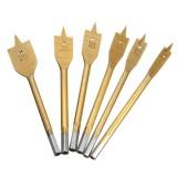 6Pcs 10-25mm Flat Wood Drill Bit Set 1/4 Inch Shank HSS Flat Drill Bits Titanium Coated