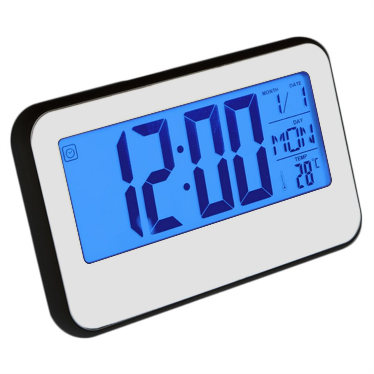 LCD Display Digital Alarm Clock Sound Controlled With Thermometer
