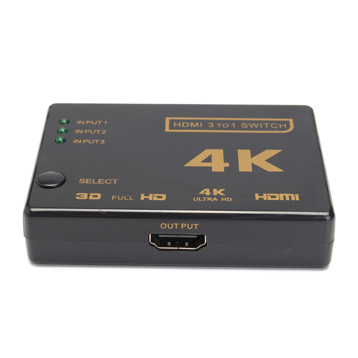 4k 3 in 1out hdmi switch hub splitter tv switcher adapter. Black Bedroom Furniture Sets. Home Design Ideas