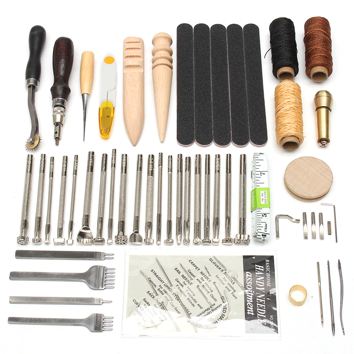 Pack of 18Pcs Leather Sewing Tools Carft DIY Hand Stitching Kit with Groover Awl Waxed Thimble Thread for Sewing Leather,Canvas or Other Leathercraft Projects