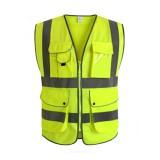 Green Unisex High Visibility Reflective Multi Pockets Construction Safety Vest