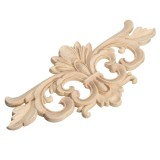 Wood Carving Applique Unpainted Flower Applique Woodcarving Decal for Furniture Cabinet 22x10cm