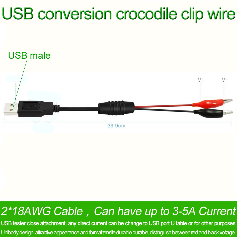 USB Crocodile wire Alligator clips Male of Female to USB tester Voltage Meter CO