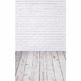 5x7FT Vinyl White Brick Wall Wood Floor Backdrop Studio Prop Photography Background
