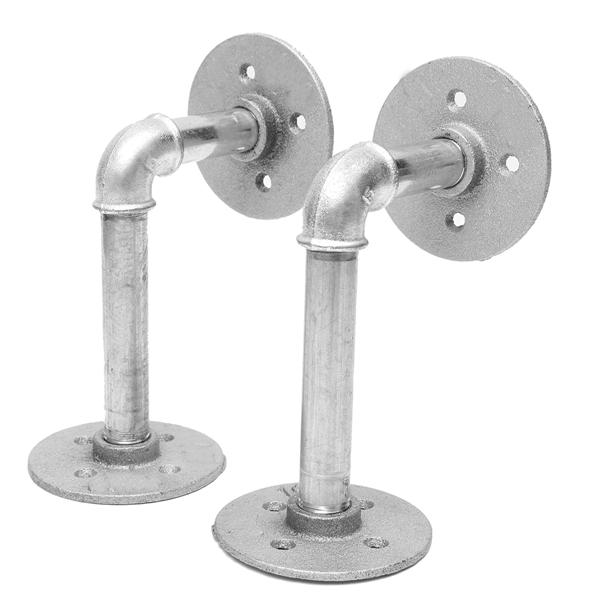 2pcs iron pipe shelf brackets silver industrial steel holder home decor diy alex nld. Black Bedroom Furniture Sets. Home Design Ideas