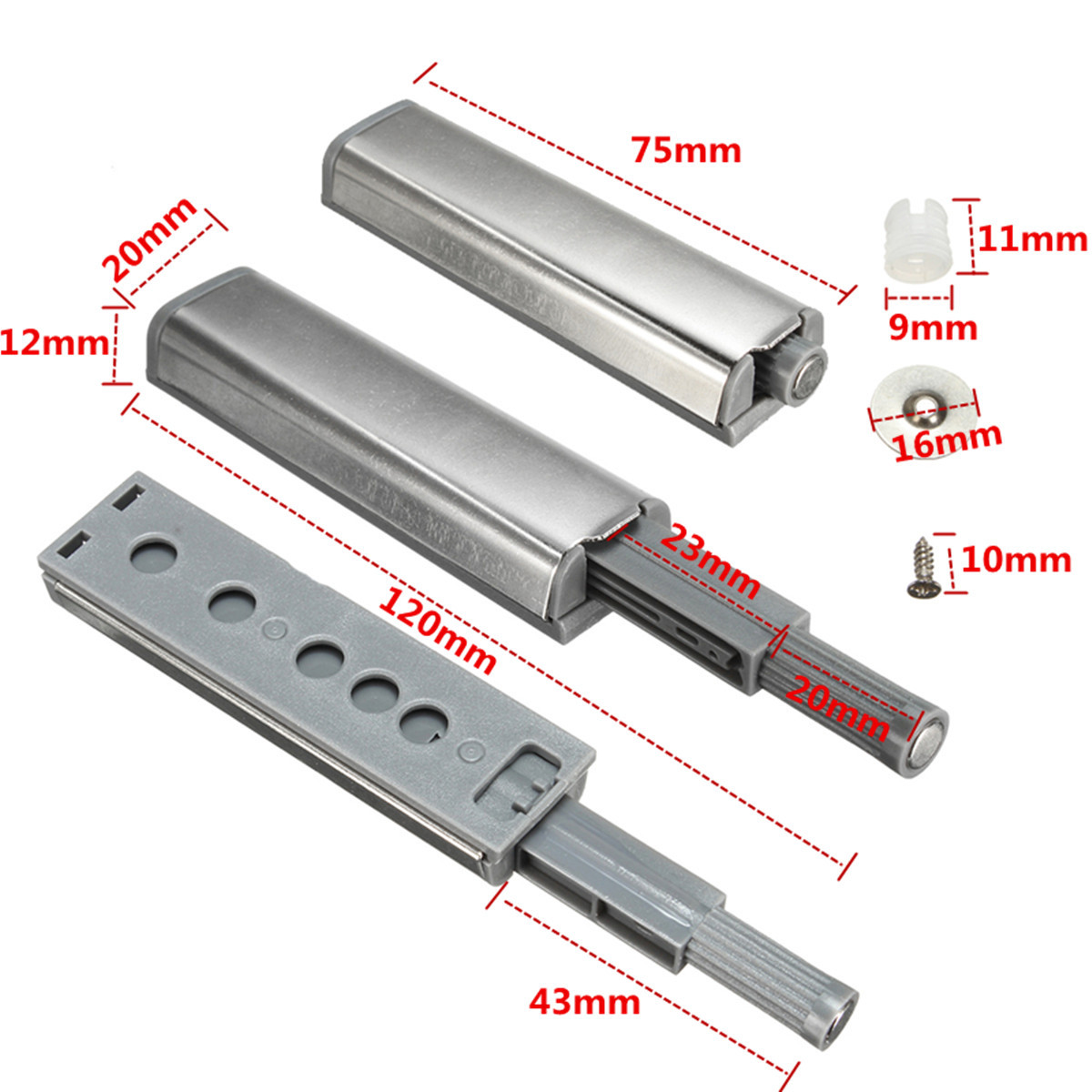 Cabinet Push Open Catch Touch Latch Magnetic Tip Damper Buffer Drawer Door Push to Open System