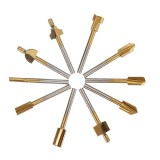 10Pcs 3mm Titanium Coated HSS Router Bit Set 3mm Shank Burr Rotary File Wood Milling Cutter Tool