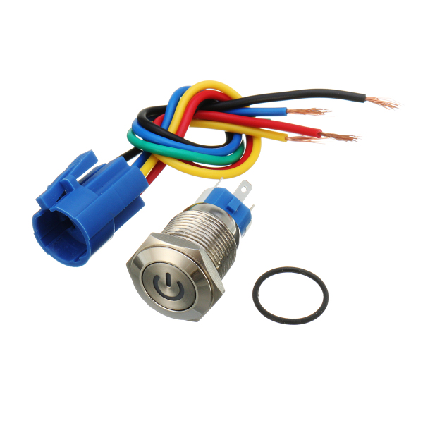 16mm 12V Metal Push Button Switch LED Latching On/Off Socket Plug ...