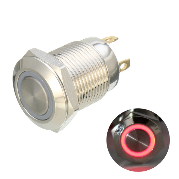 DC 12V 12mm 4 Pin Momentary Switch Led Light Metal Push Button Waterproof Switch