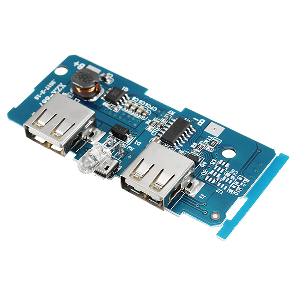 3.7V To 5V 1A 2A Boost Module DIY Power Bank Mainboard Circuit Board Built In 18650 Lithium Battery Protection IC Double USB Output Over-current Over-voltage Under Voltage Protection