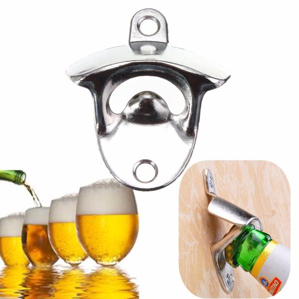 Nickel Bottle Opener Wall Mount Bar Wine Beer Soda Glass Cap Remover Opener Tool