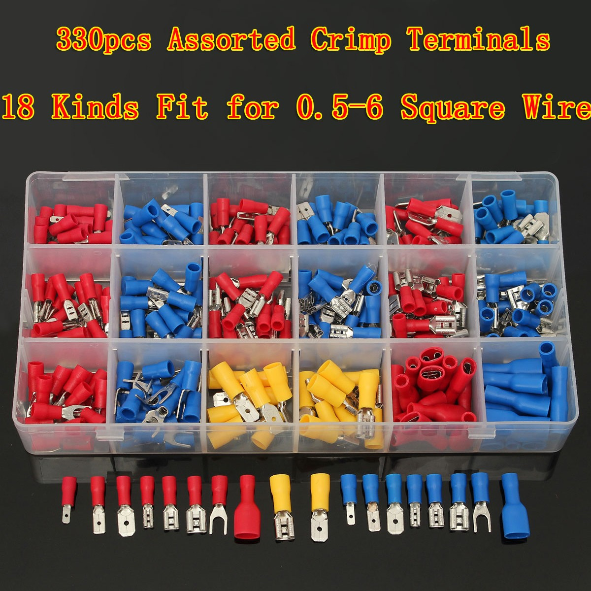 Excellway CT018 330Pcs 18 Kinds Assorted Crimp Terminals Insulated ...