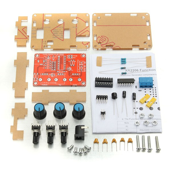Case XR2206 Function Generator DIY Kit Sine Triangle Square Output 1HZ-1MHZ