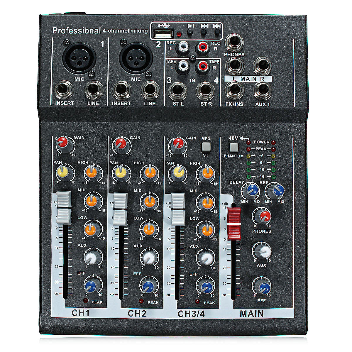 48v professional 4 channel live studio audio sound usb mixer mixing console. Black Bedroom Furniture Sets. Home Design Ideas