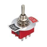250V 15A 9 Pin Rocker Switch Mini Momentary Automatic Reset Push Button Toggle Switch